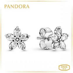 """Пандора Серьги """"Блестящая снежинка"""" Pandora 299239C01"""