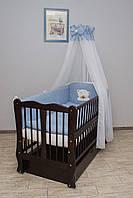 Кроватка детская Labona Волна № 12 на шарнирах с подшипником + ящик + откидная боковина, венге