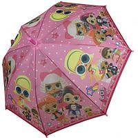 Зонтик детский с куклами ЛОЛ для девочки 4-8 лет Paolo Rossi трость полуавтомат 8 спиц Розовый (57185)