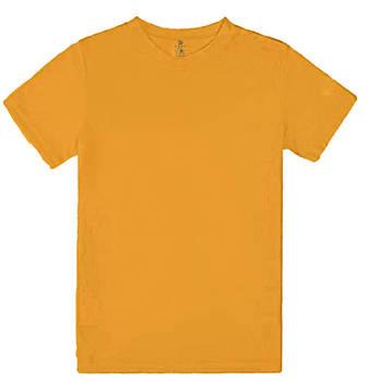 Футболка однотонная детская, цвет оранжевый, круглая горловина