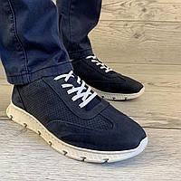Мужские классические кроссовки из нубука с белой подошвой демисезонная фирменная обувь с белыми шнурками