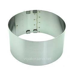 Раздвижное кондитерское кольцо с разметкой  из нержавейки 16 - 30 сантиметров