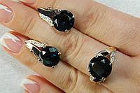 Женские серебряные украшения - серьги и кольцо