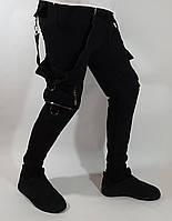 Мужские спортивные трикотажные весенние штаны с боковыми накладными карманами