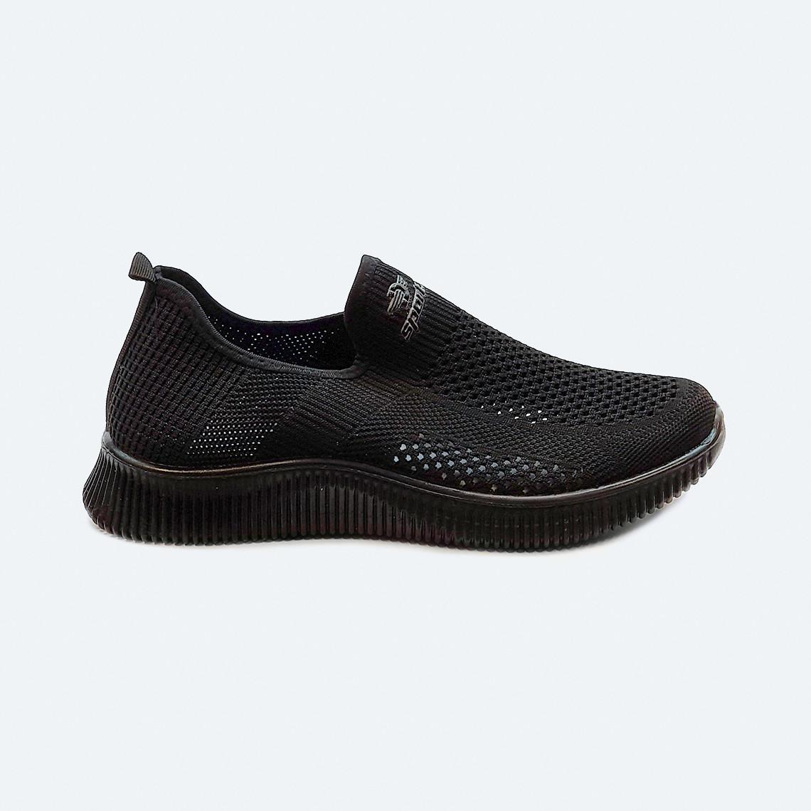 Мужские летние кроссовки текстильные черные без шнурков