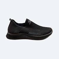 Мужские летние кроссовки текстильные черные без шнурков, фото 1