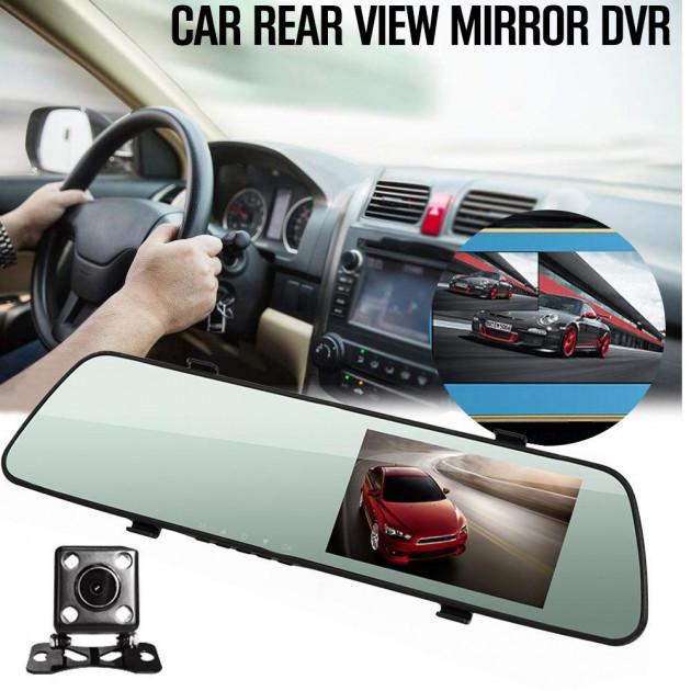 Видеорегистратор автомобильный зеркало с двумя камерами  DVR C11