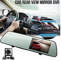 Видеорегистратор автомобильный зеркало с двумя камерами  DVR C11, фото 1