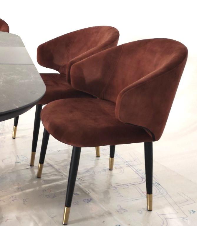 Кресло M-37 бронзовый вельвет от Vetro Mebel, ноги черный + золото