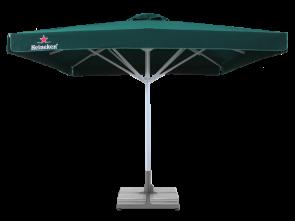 Зонт с печатью для кафе и бара 4х4м + бетонная подставка, труба 60мм, ткань оксфорд 230г/м2