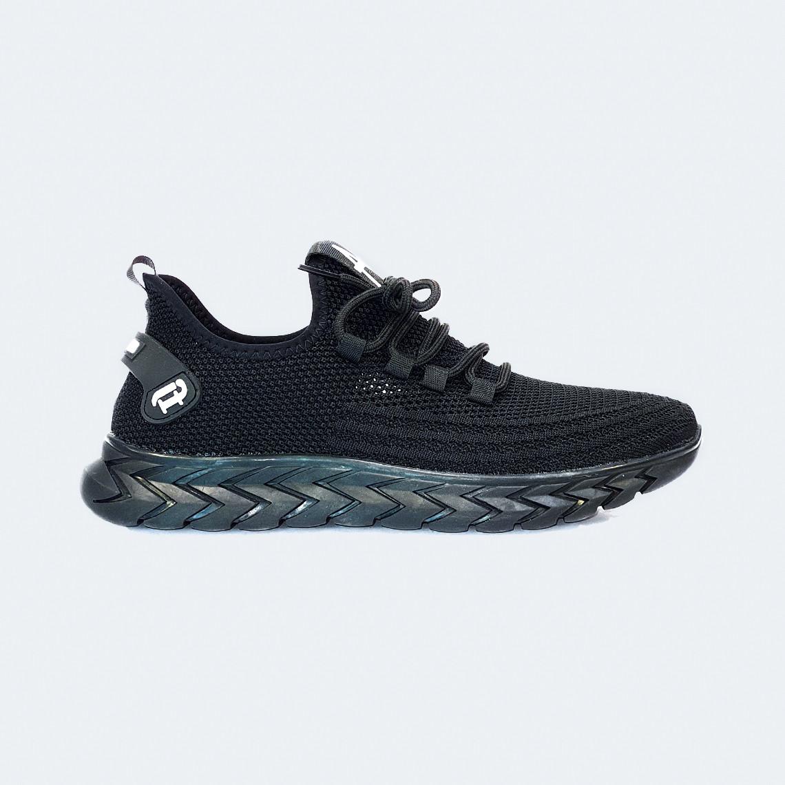 Мужские летние кроссовки текстильные черные на шнурках