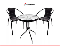 Набор садовой мебели для дачи со столом и двумя стульями Комплект мебели для сада Летняя мебель для кафе Jumi