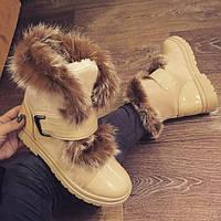 Ботинки женские  зимние с опушкой кролик беж 40размер