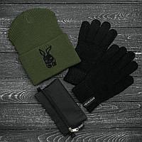 Мужская   Женская шапка Intruder хаки зимняя bunny logo + перчатки черные, зимний комплект + ПОДАРОК