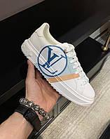 Белые кроссовки Луи Виттон Louis Vuitton Time out sneakers white кожа кожаные с надписью Луи Витон сникерсы
