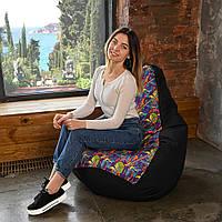 Кресло мешок Груша Оксфорд Принт XL 120х85 Гитары, бескаркасное кресло пуфик