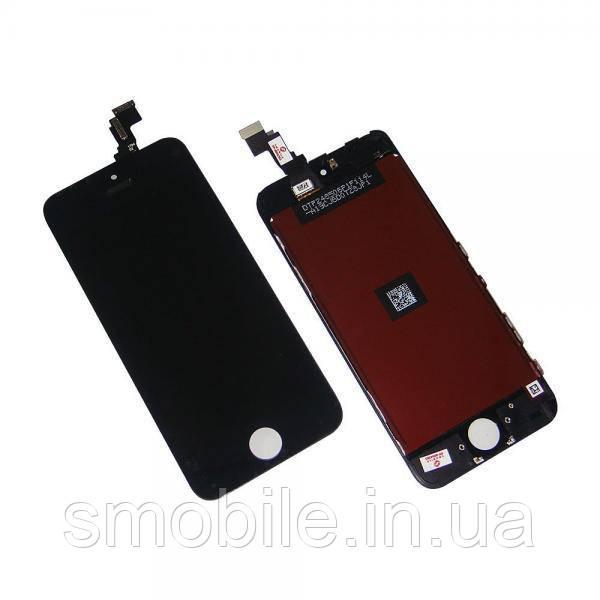 Apple Дисплей iPhone 5C + рамка і сенсор чорний (матриця і сенсор оригінал / скло копія)