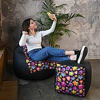 Кресло мешок Груша Оксфорд Принт XL 120х85 Звезды-Сердца, бескаркасное кресло пуфик