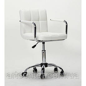 Крісло для майстрів Tower, на колесах і з підлокітниками, пневматика, кожзам білий