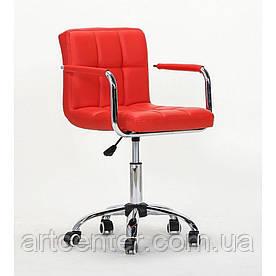 Крісло для майстрів Tower, на колесах і з підлокітниками, пневматика, кожзам червоний