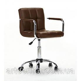 Крісло для майстрів Tower, на колесах і з підлокітниками, пневматика, кожзам коричневий