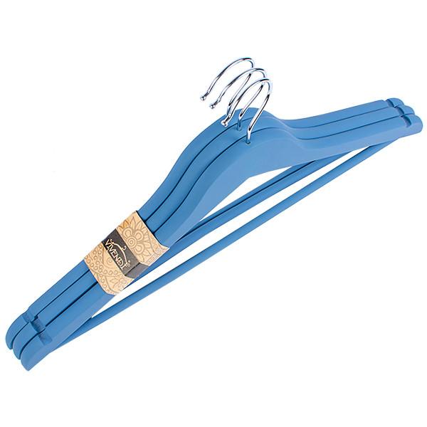 Дерев'яні обгумовані плічка вішалки синього кольору, 45см, 3шт в упакуванні