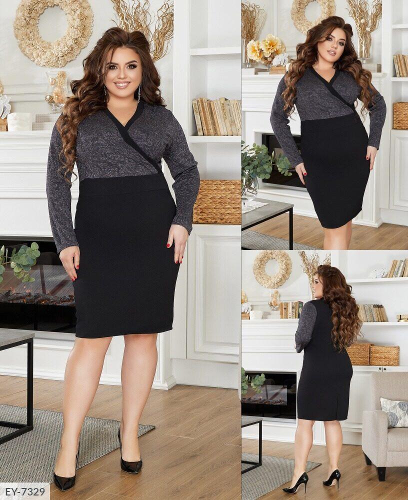 Женское стильное платье футляр по колено приталенное больших размеров 50-58 арт 3246