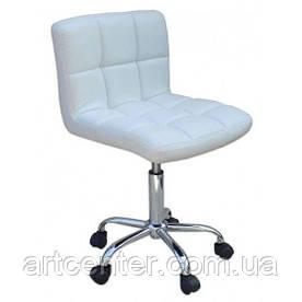 Косметичне крісло Sity, на колесах, регулюється по висоті, кожзам білий