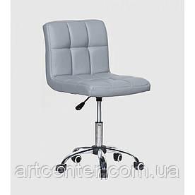 Косметичне крісло Sity, на колесах, регулюється по висоті, кожзам сірий