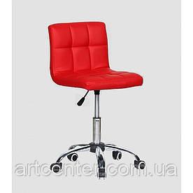 Косметичне крісло Sity, на колесах, регулюється по висоті, кожзам червоний