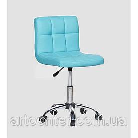 Косметичне крісло Sity, на колесах, регулюється по висоті, кожзам бірюзовий