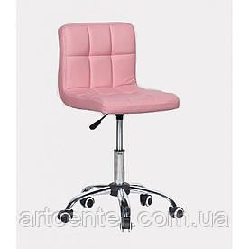 Косметичне крісло Sity, на колесах, регулюється по висоті, кожзам рожевий
