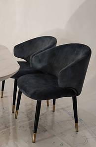 Кресло M-37 синий вельвет от Vetro Mebel, ноги черный + золото