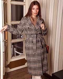 Женское весеннее пальто тренч в клетку