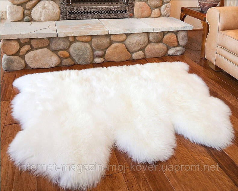 Необычный тройной ковер из высококачественной меховой овчины
