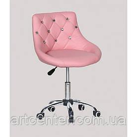 Косметичне крісло Zara, на колесах, регулюється по висоті, кожзам рожевий