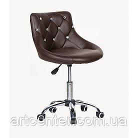 Косметичне крісло Zara, на колесах, регулюється по висоті, кожзам шоколадний
