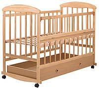 Детская кроватка Наталка ящик, откидной бок, светлая, фото 1