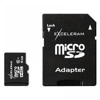 Карта памяти eXceleram 8Gb microSDHC class 10 c адаптером SD (MSD0810VA)