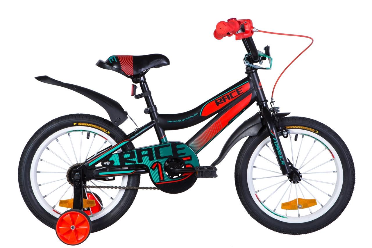 """Велосипед 16"""" Formula RACE 2020 Розмір 9"""" чорно-помаранчевий з бірюзовим (м)"""