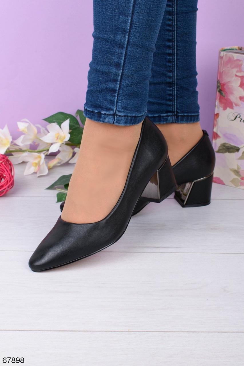 Туфли женские черные эко кожа на каблуке 5 см