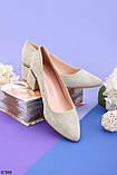 Женские туфли зеленые - оливковые на каблуке эко- замш, фото 2
