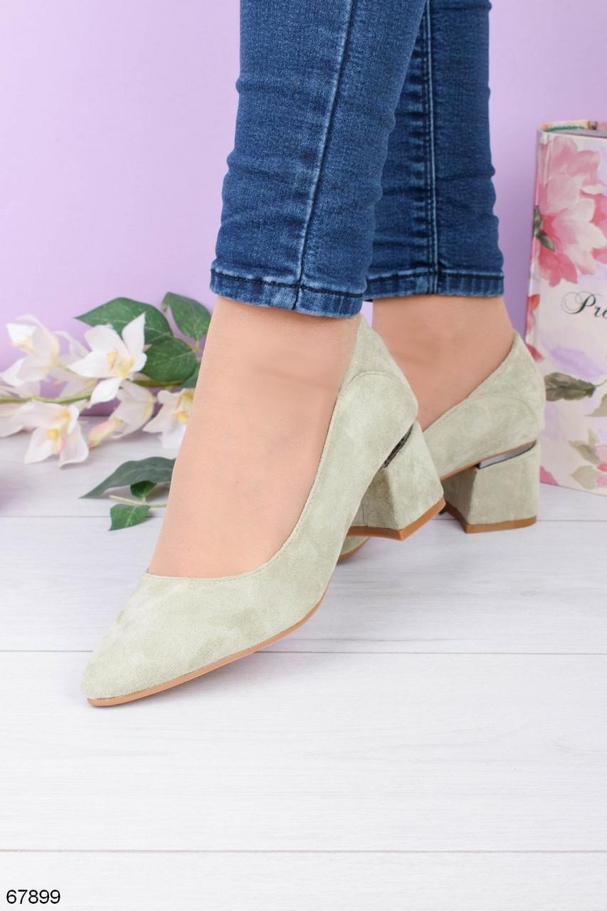 Женские туфли зеленые - оливковые на каблуке эко- замш