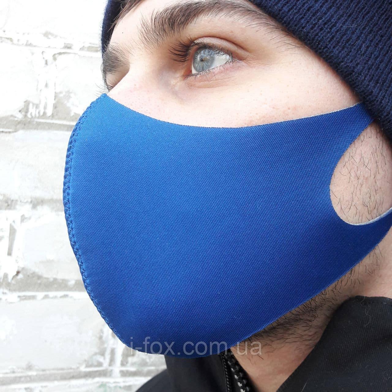 Захисна багаторазова маска Pitta mask/Пітта для захисту органів дихання. Синього кольору. Неопрен, 3-х шарова