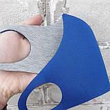 Захисна багаторазова маска Pitta mask/Пітта для захисту органів дихання. Синього кольору. Неопрен, 3-х шарова, фото 2