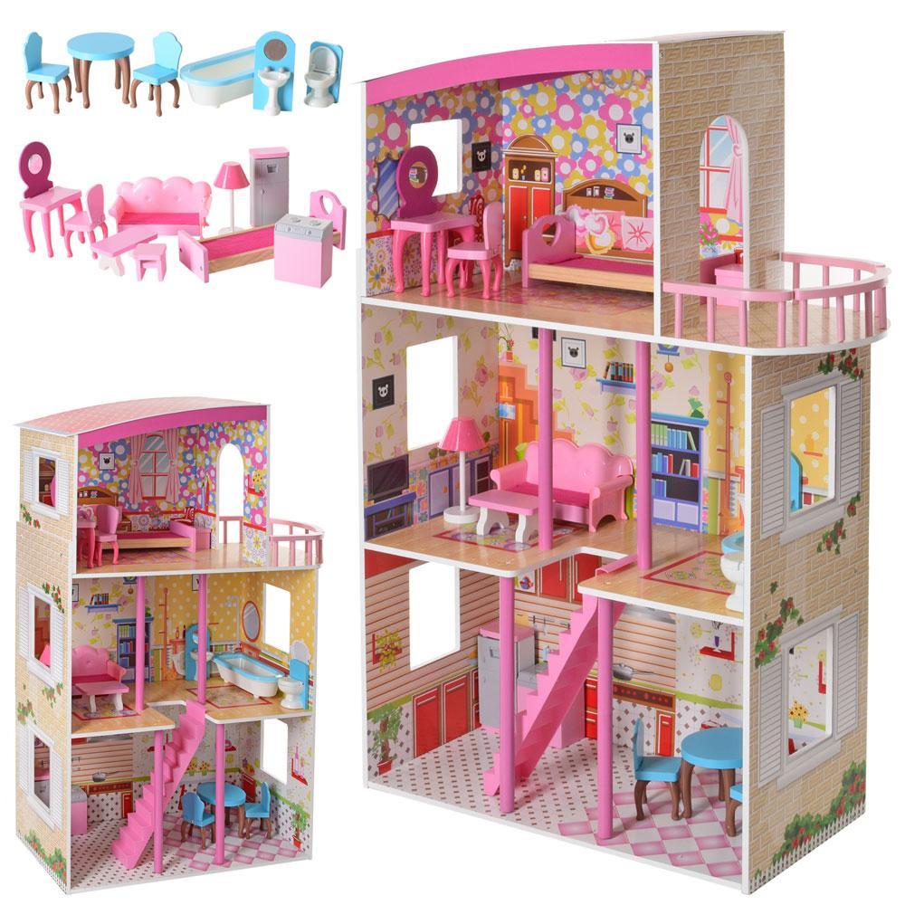 Деревянный кукольный домик MD 2411 с балконом и мебелью