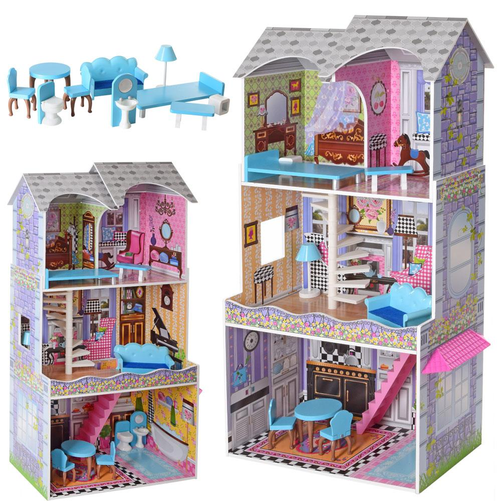 Деревянный кукольный домик MD 2412 с мебелью