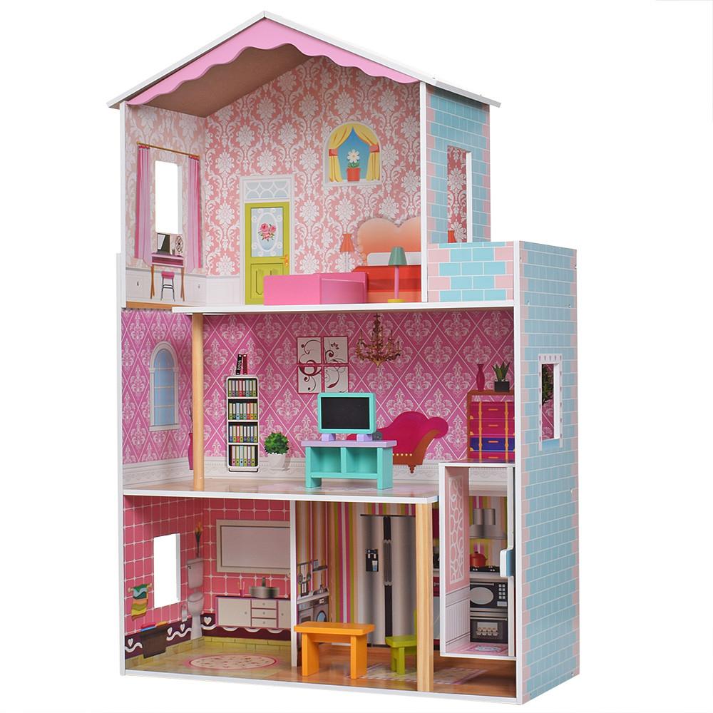 Деревянный кукольный домик MD 2579 с мебелью и лифтом