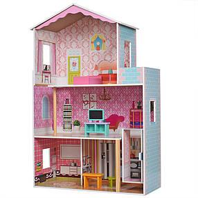 Деревянный кукольный домик MD 2579 с мебелью и лифтом, фото 2
