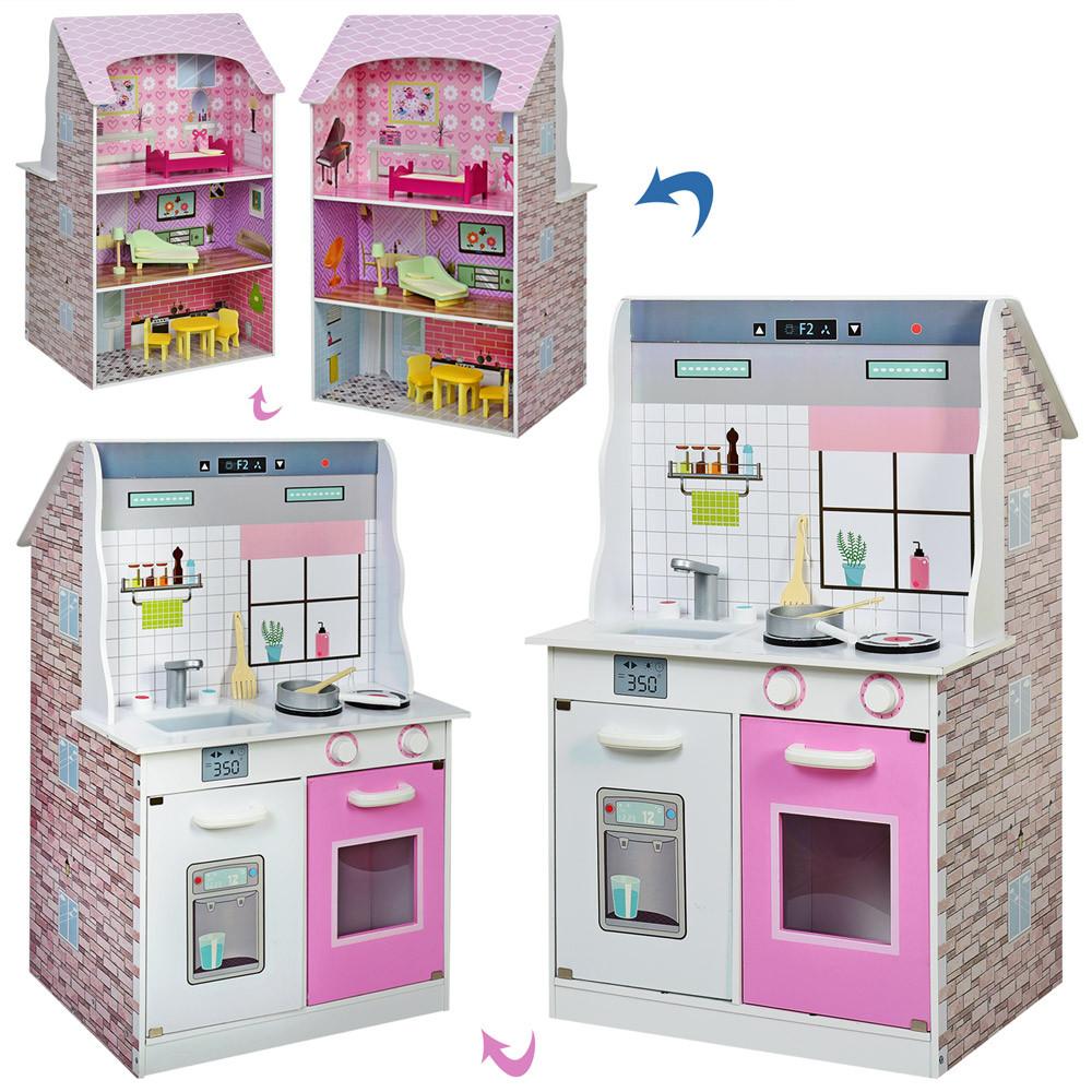 Деревянная кухня и домик MD 2667 с мебелью